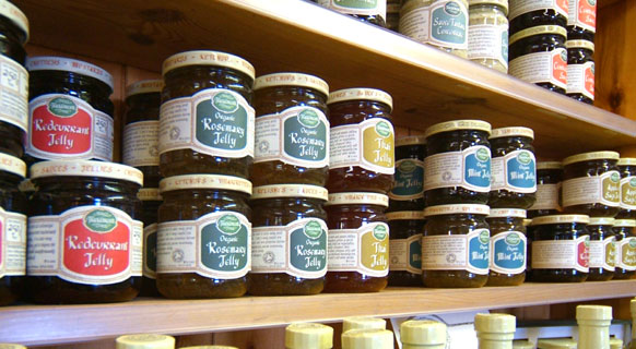 Photograph showing our organic jam at Fenton Barns Farm Shop