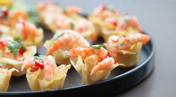 Photograph of prawn canapes served